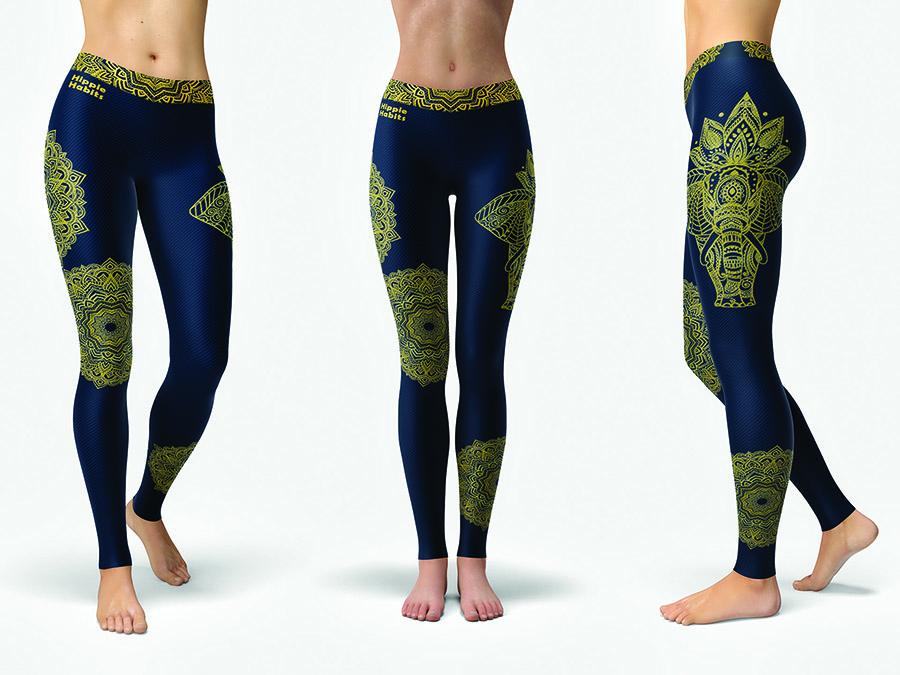 Legginsy Hippie Habits – Gold Mandala – joga, yoga – fitness – sportswear