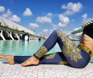 Legginsy Hippie Habits - Gold Mandala - joga, yoga - fitness - sportswear