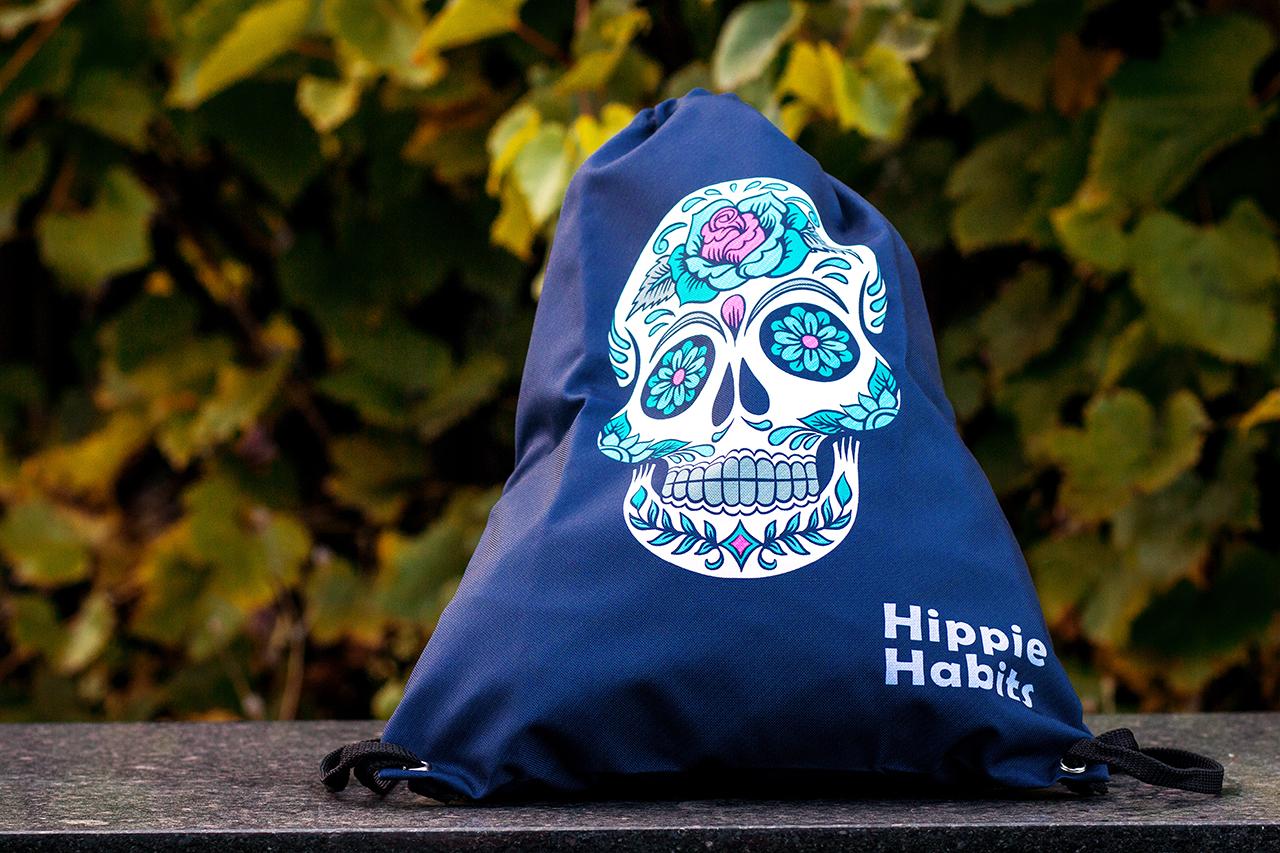 Hippie Habits – Candy Skull – plecak, worek –  joga, yoga – fitness – sportswear